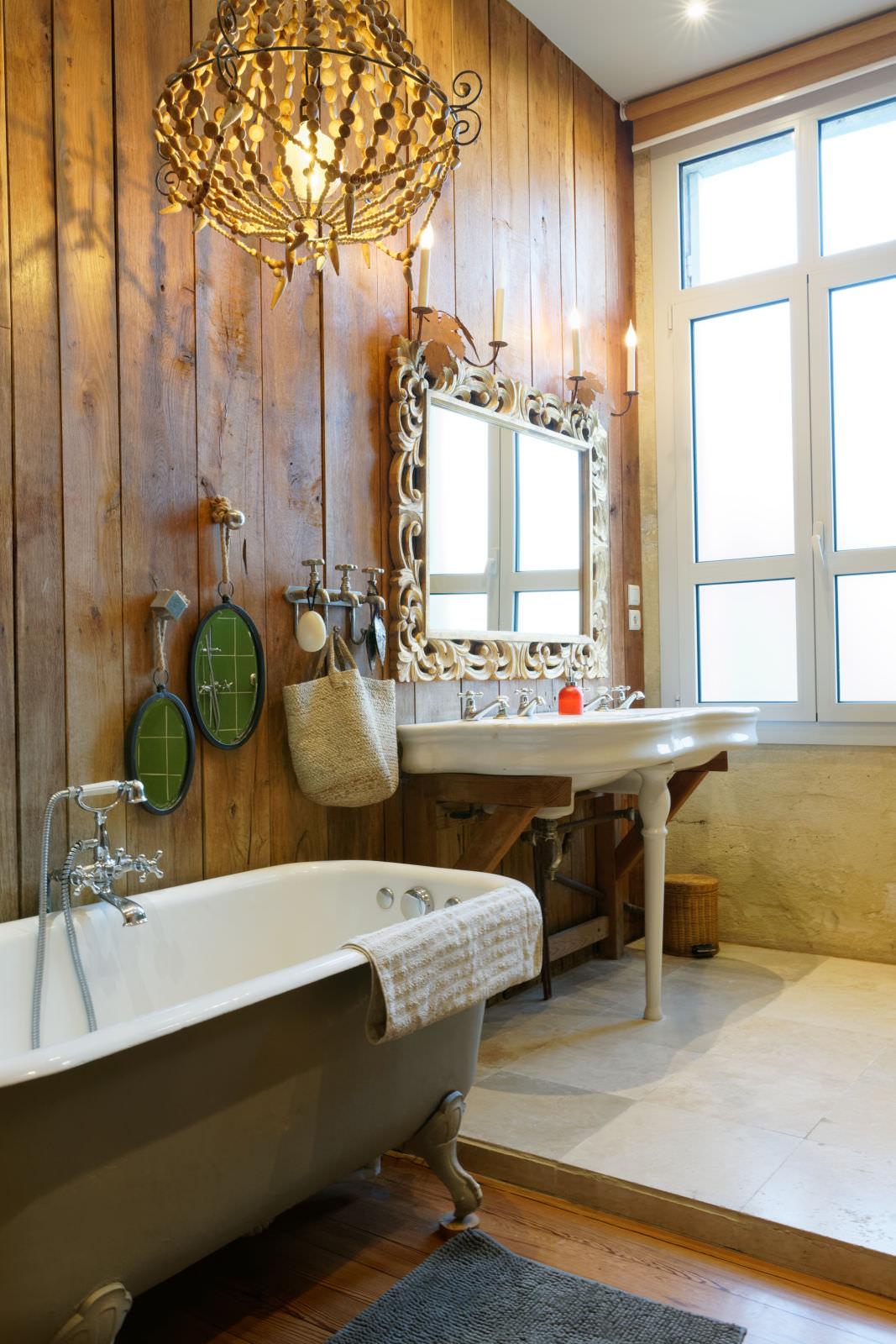 Salle de bain Design - Bathroom - rustique - photo immobilière - Thierry Pousset - Photographe professionnel - Bordeaux